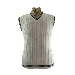 Mens Tank tops-White cable knit tank top