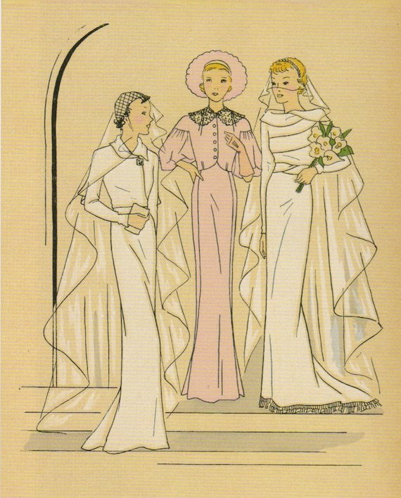 1930s wedding dresses, with maid of honour outfit in the centre.