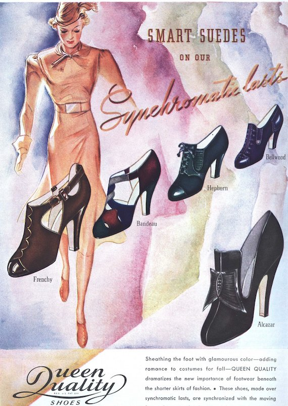 1930s fashion shoes - 1937 shoe advert.