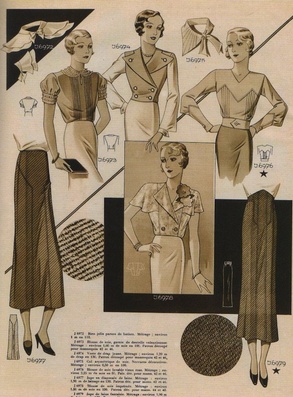 1930s Blouse, collar and skirt combinations, 1933.