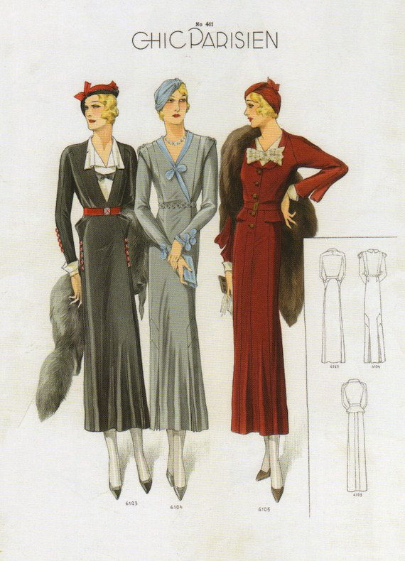 1930s dresses, Chic colours.