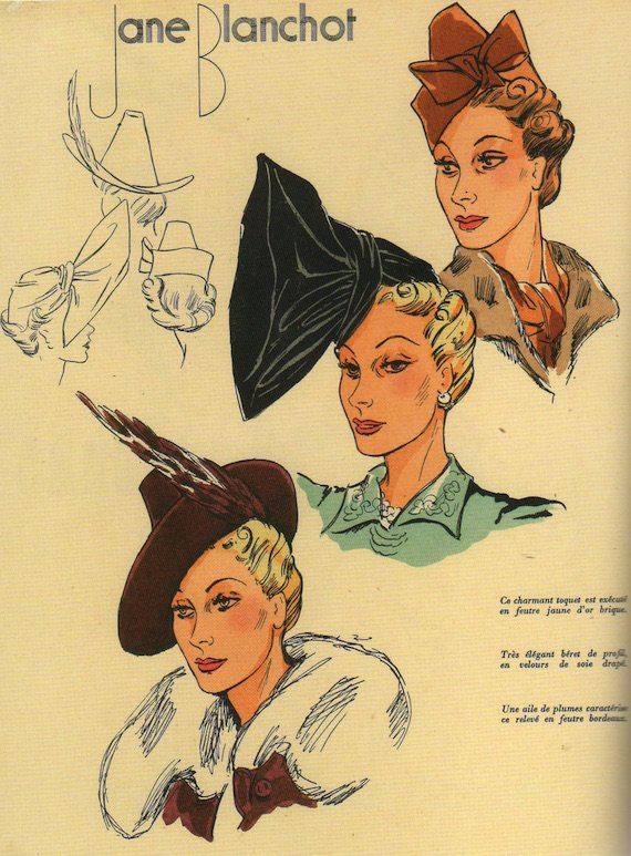 1930s fashion headwear - Three hat designs.