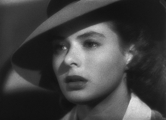 Close-up shot of Ingrid Bergman as Ilsa Lund Laszlo, wearing hat. (Filmframe)