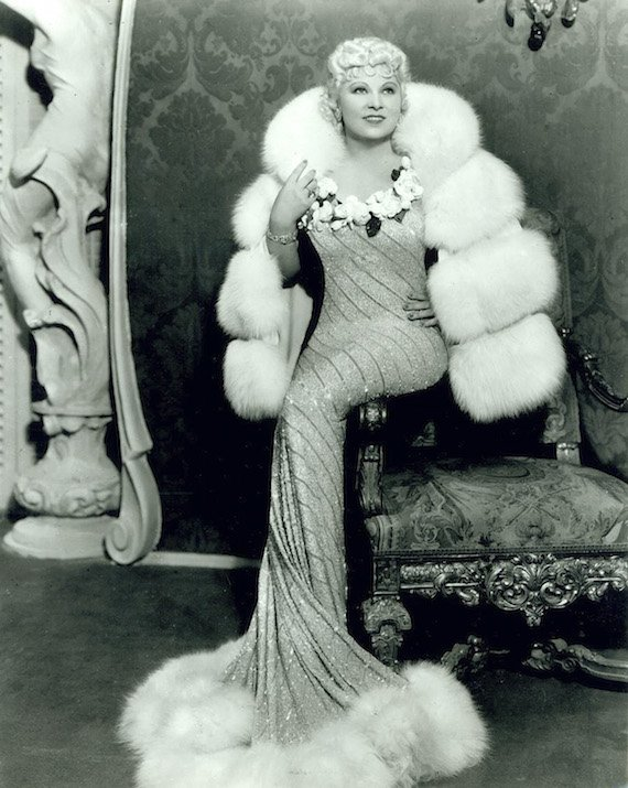 The ultimate in lavish 1930s fashion - 1930's Mae West.