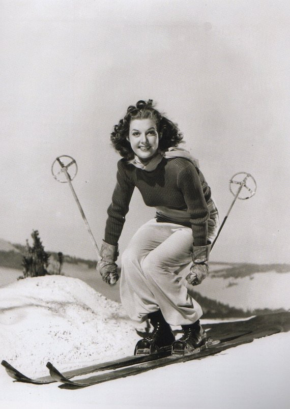 1930s fashion sportswear prom photo- A ski outfit, 1939.