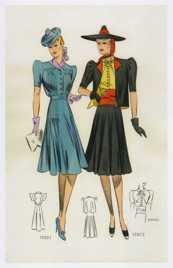 1930s dresses with Striking colour combinations.