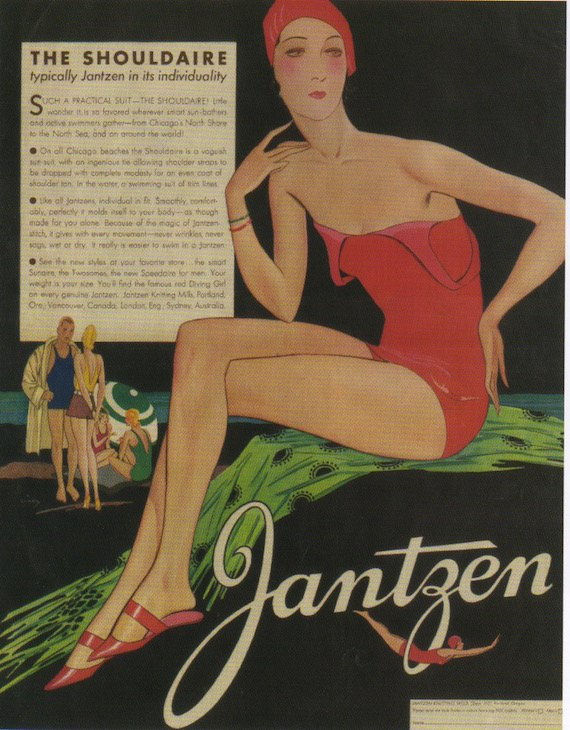 1930s fashion publicity ilustration, The Jantzen Shouldaire swimsuit, for tanning without lines.