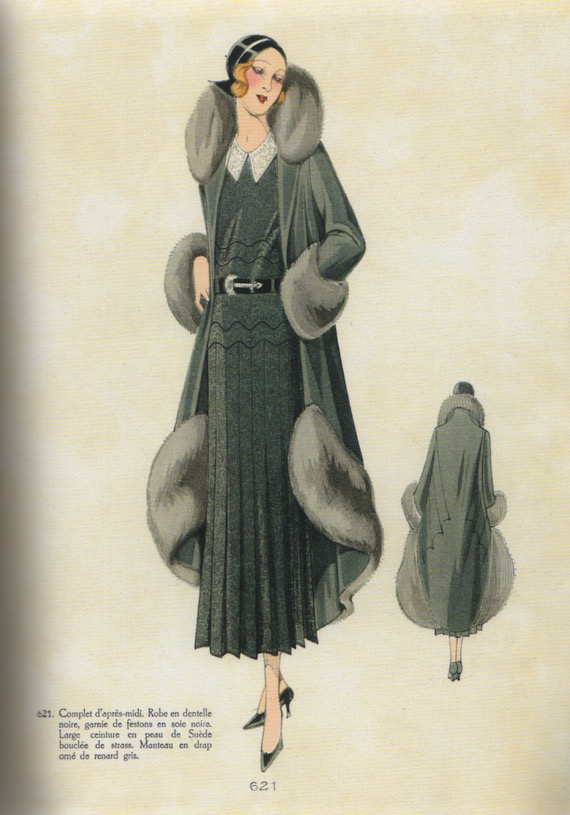1930s Ensemble with fur trim.