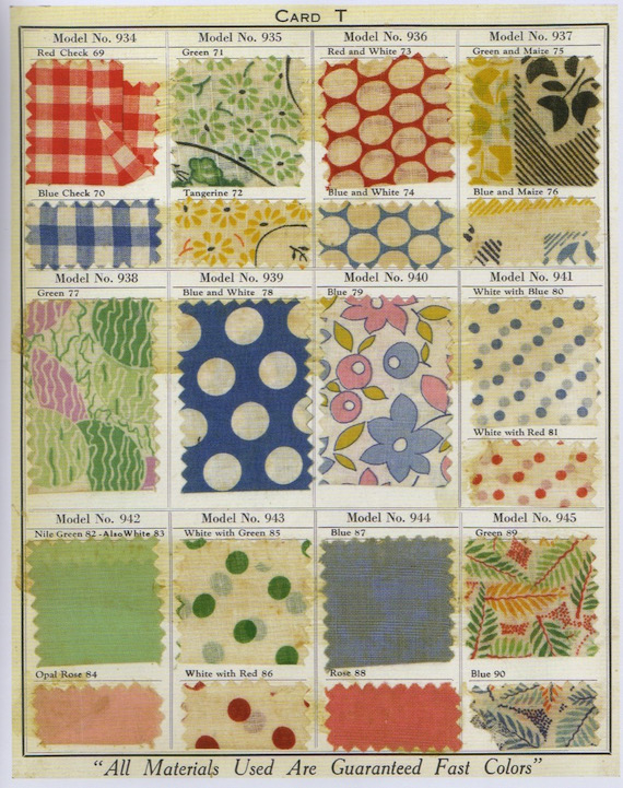 Cotton fabric samples, c.1930.