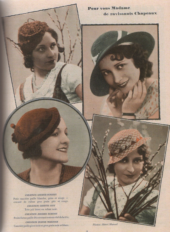 1930s fashion Hats, 1933.
