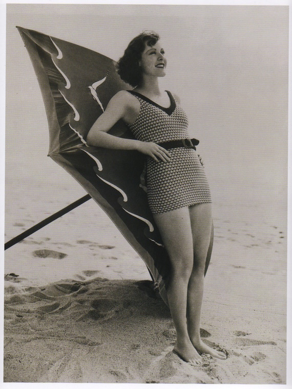 Beachwear promo for 1930s fashion - Knitted swimsuit.