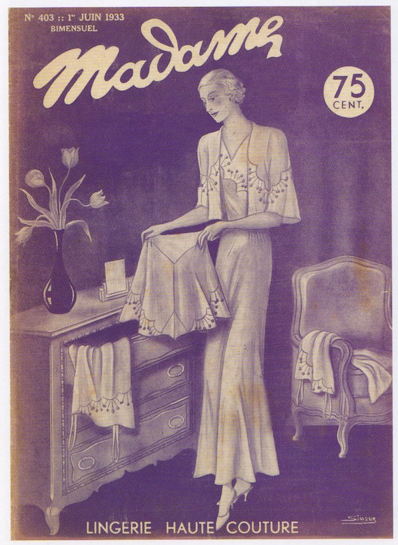 1930s fashion poster for Lingerie, 1933.