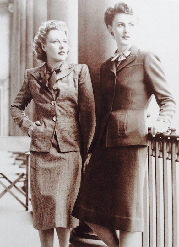 1940s suits, 1942-on-the-left-is-an-original-west-end-suit-on-the-right-is-a-mass-produced-utility-suit