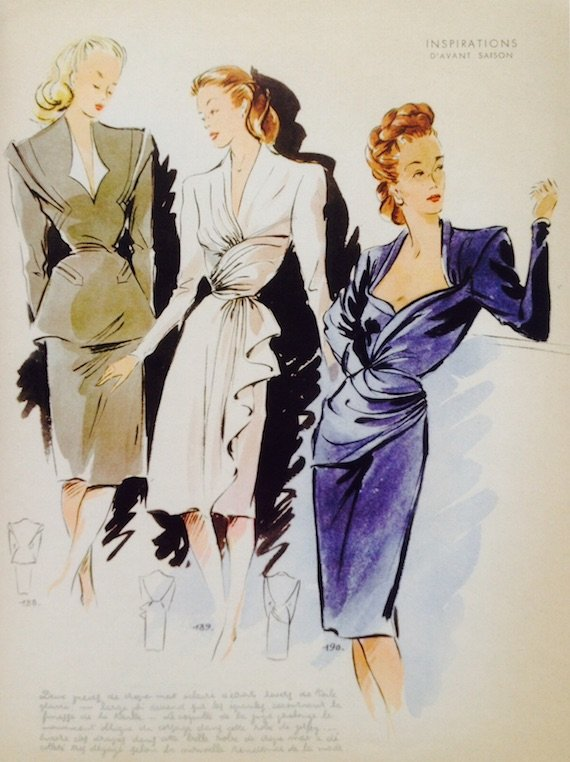 1940s dresses in French-fashion designs-1947