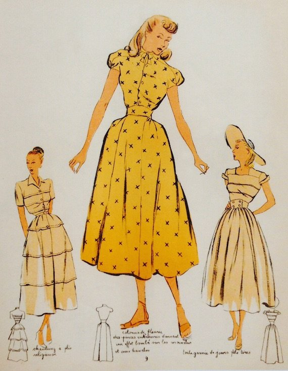 Full skirted french dress desingns in 1940s fashion-1948