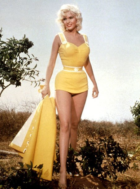 jayne-mansfield-in-a-swimsuit in the 1950s