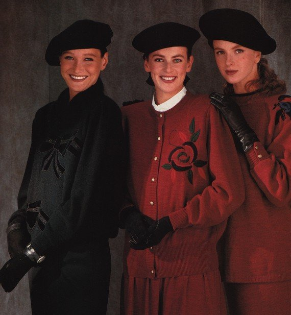 80s fashion, Berets and gloves, 1988