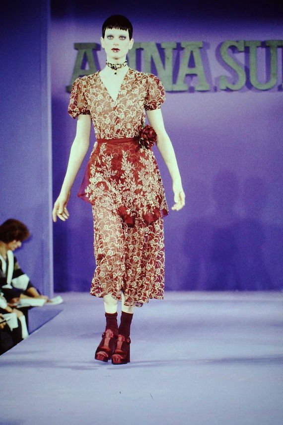 Kristen McMenamy modelling Anna Sui's Spring_Summer 1993 _Grunge_inspired_collection